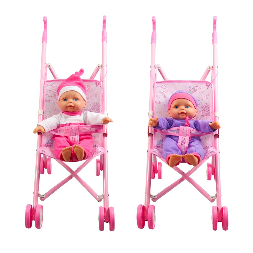 עגלה לבובה מתכת + בובה רכה – Soft Baby With Metal Buggy